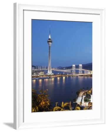 Macau Tower at Dusk, Macau, China, Asia-Ian Trower-Framed Photographic Print