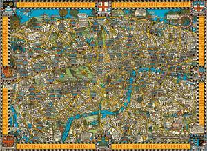 The Famous Wonderground Map of London Town, England - Underground Railways by MacDonald (Max) Gill