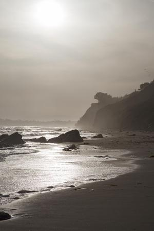 A View of the Coastline at Sunset Near Arroyo Burro Beach