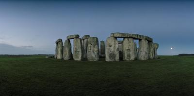 Stonehenge on the Salisbury Plain with the Moon on the Horizon