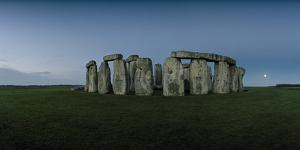 Stonehenge on the Salisbury Plain with the Moon on the Horizon by Macduff Everton