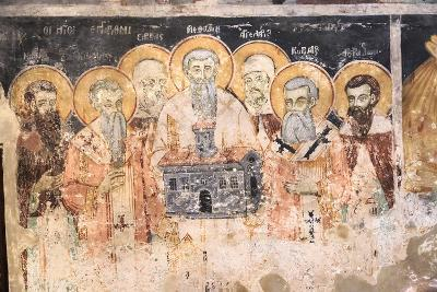 Macedonia, Lake Ohrid. St. Naum Monastery. Frescos of St. Cyril and Methody and Students-Emily Wilson-Photographic Print