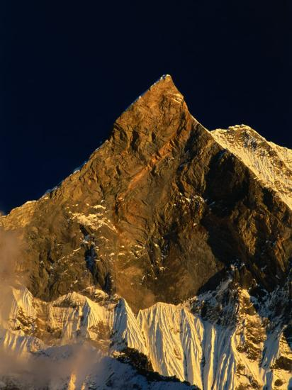 Machhapuchhare's West Face Glowing in the Sunset,Gandaki, Nepal-Anders Blomqvist-Photographic Print