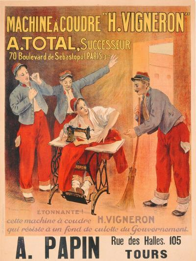 """Machine a Coudre """"H. Vigneron""""', Poster Advertising Sewing Machines, c.1902-Etienne Albert Eugene Joannon-Navier-Giclee Print"""
