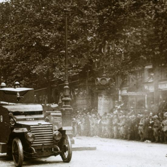 Machine gun mounted in armoured vehicle, victory parade, c1918-Unknown-Photographic Print