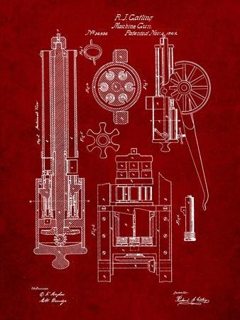 Machine Gun Patent-Cole Borders-Art Print