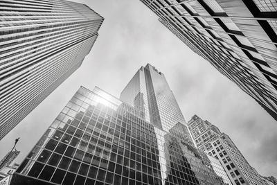Looking up at Manhattan Skyscrapers, New York City