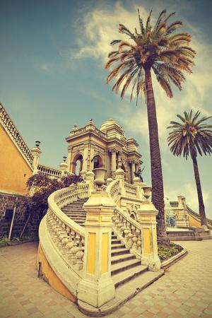 Santiago De Chile, Old Building with Palms on the Blue Sky, Vintage Retro Style.