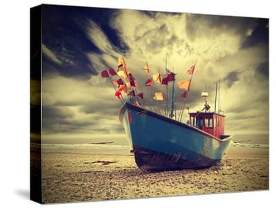 Small Fishing Boat on Shore of the Baltic Sea, Vintage Retro Instagram Style. by Maciej Bledowski