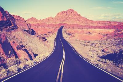 Vintage Toned Curved Desert Highway, Travel Concept, Usa.