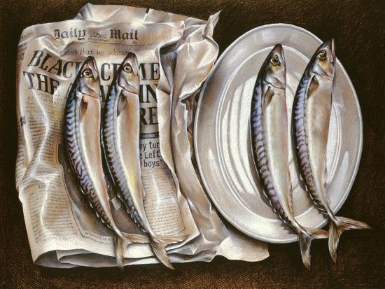 Mackerel with Mail, 1980-Sandra Lawrence-Giclee Print