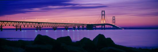 Mackinac Bridge at dusk, Mackinac, Michigan, USA--Photographic Print