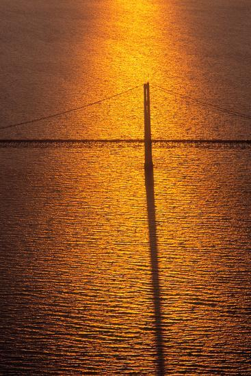 Mackinac Bridge at sunset, Mackinac, Michigan, USA--Photographic Print