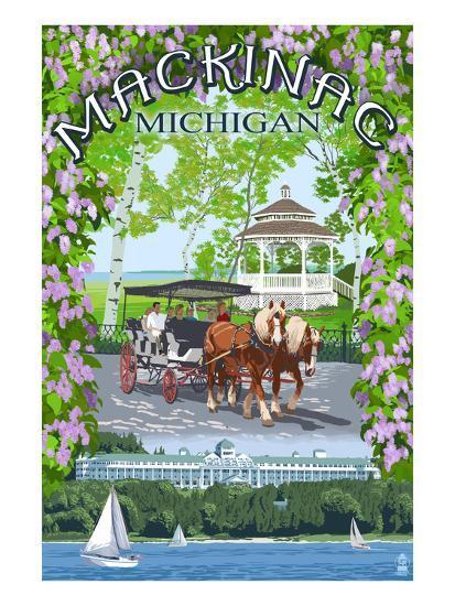 Mackinac, Michigan - Montage Scenes-Lantern Press-Art Print