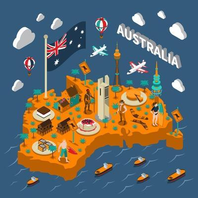 Australian Touristic Isometric Map with National Cuisine Landmarks Wildlife Popular Sport and Surfe