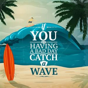 Catch a Wave Surfboard Poster by Macrovector