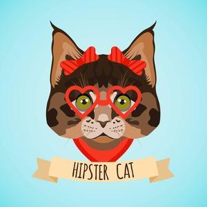 Hipster Cat Portrait by Macrovector