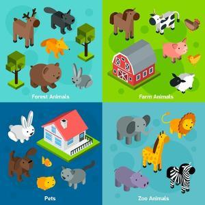 Isometric Animals Set by Macrovector