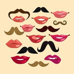 Lips and Mustaches by Macrovector