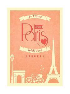 Love Paris Vintage Retro Poster by Macrovector