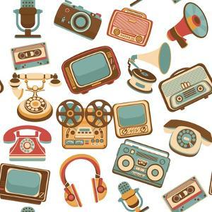 Retro Media Seamless Pattern by Macrovector