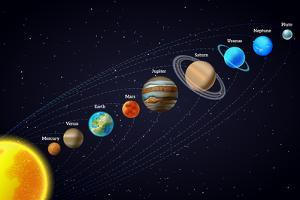 Solar System Astronomy Banner by Macrovector