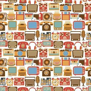 Vintage Gadget Seamless Pattern by Macrovector