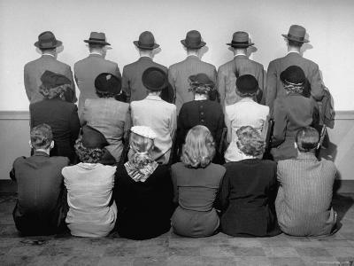 Macy's Department Store Detectives with Their Backs Turned So as Not to Reveal Their Identity-Nina Leen-Photographic Print