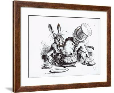Mad Hatter, March Hare and Dormouse in Teapot, Illustration, 'Alice's Adventures in Wonderland'-John Tenniel-Framed Giclee Print