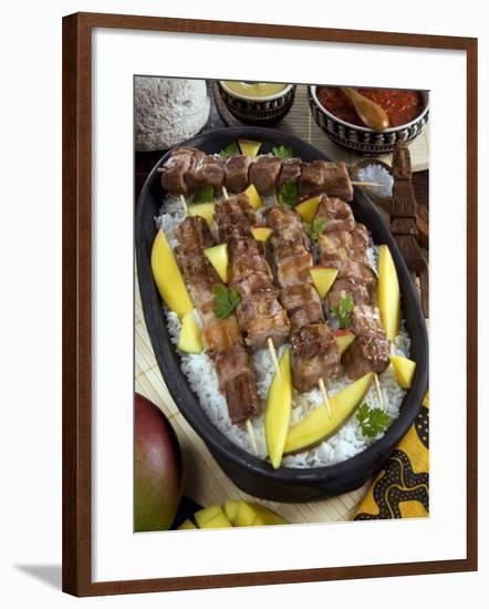 Madagascan Food, Mosakiki, Zebu Skewers with Mango and Rice, Madagascar, Africa-Tondini Nico-Framed Photographic Print