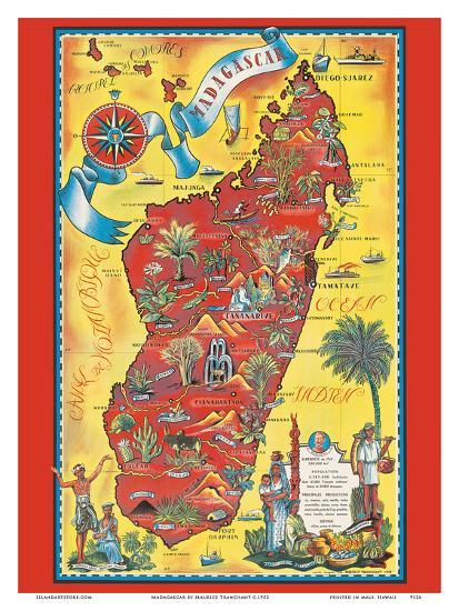 Madagascar - Map - Africa Island-Maurice Tranchant-Art Print
