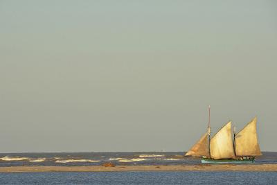 Madagascar, Morondava, Fisherman Boat with Large White Sails at Sea-Anthony Asael-Photographic Print