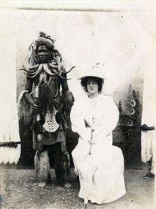 Madame Albani, Opera Singer, with Zulu Warrior, C.1900