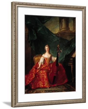 Madame Henriette De France (1727-52) in Court Costume Playing a Bass Viol, 1754-Jean-Marc Nattier-Framed Giclee Print