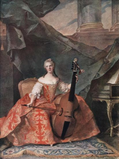Madame Henriette De France in Court Costume Playing a Bass Viol, 1754-Jean-Marc Nattier-Giclee Print