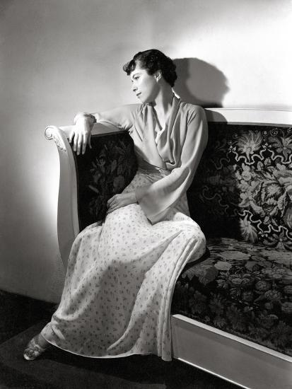 Madame Jean Bonnardel Wearing a Silky Print Dress with Jacket by Vionnet and Grecian Sandals--Premium Photographic Print