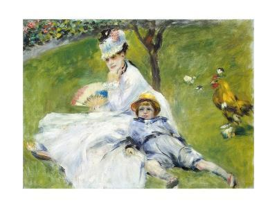 Madame Monet and Her Son-Pierre-Auguste Renoir-Giclee Print
