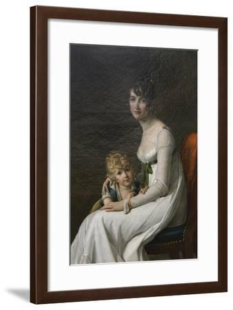 Madame Philippe Desbassayns De Richemont (Jeanne Eglé Mourgue, 1778–1855) and Her Son, Eugène-Marie Guilhelmine Benoist-Framed Art Print