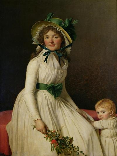 Madame Pierre Seriziat (Nee Emilie Pecoul) with Her Son, Emile (B.1793) 1795-Jacques-Louis David-Giclee Print
