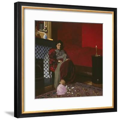 Madame Vallotton and Her Niece, Germaine Aghion, 1899-Felix Edouard Vallotton-Framed Giclee Print