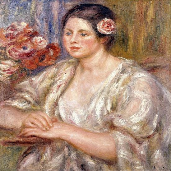 Madeleine in a White Blouse and Bouquet of Flowers, C.1915-1919-Pierre-Auguste Renoir-Giclee Print