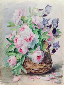 Irises and Peonies in a Basket by Madeleine Lemaire