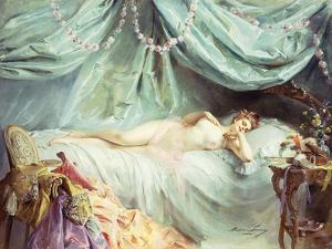 Reclining Nude in an Elegant Interior by Madeleine Lemaire