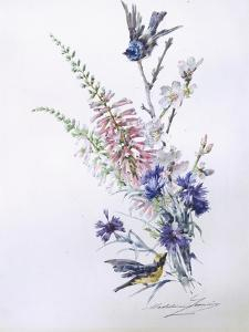 Study of Heather Cornflower and Blossom by Madeleine Lemaire