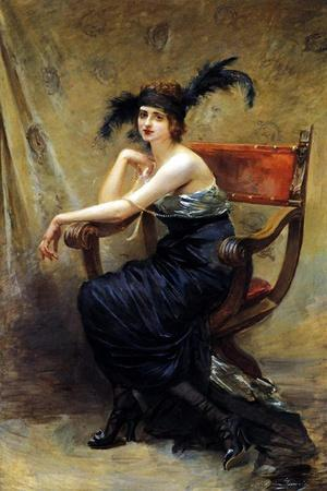 Woman Sitting in a Dagobert Armchair