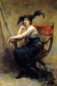 Woman Sitting in a Dagobert Armchair by Madeleine Lemaire