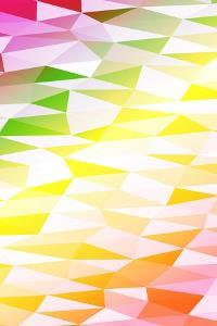 Yellow, Orange, Pink, Multicolor Polygonal Geometric Banner with Rumpled Triangular Low Poly Origam by Mademoiselle de Erotic