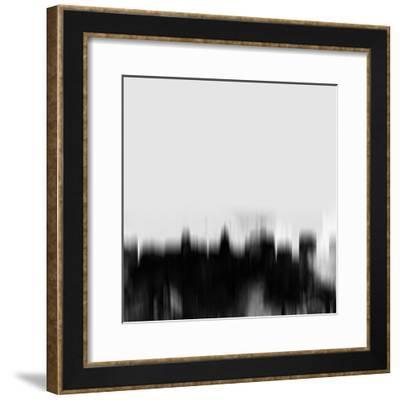 Madison City Skyline - Black-NaxArt-Framed Art Print