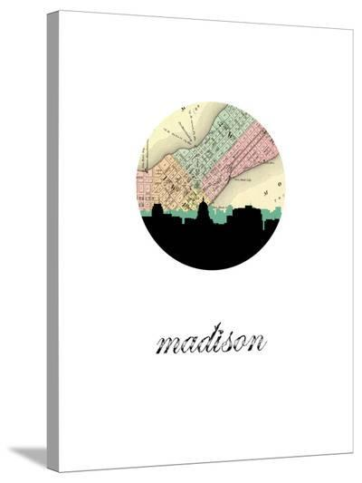 Madison Map Skyline-Paperfinch 0-Stretched Canvas Print