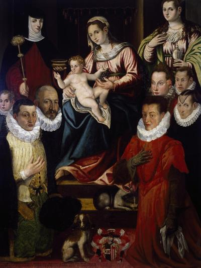 Madonna Adored by St Mary Magdalene, St Brigid and the Cadamosto Family--Giclee Print